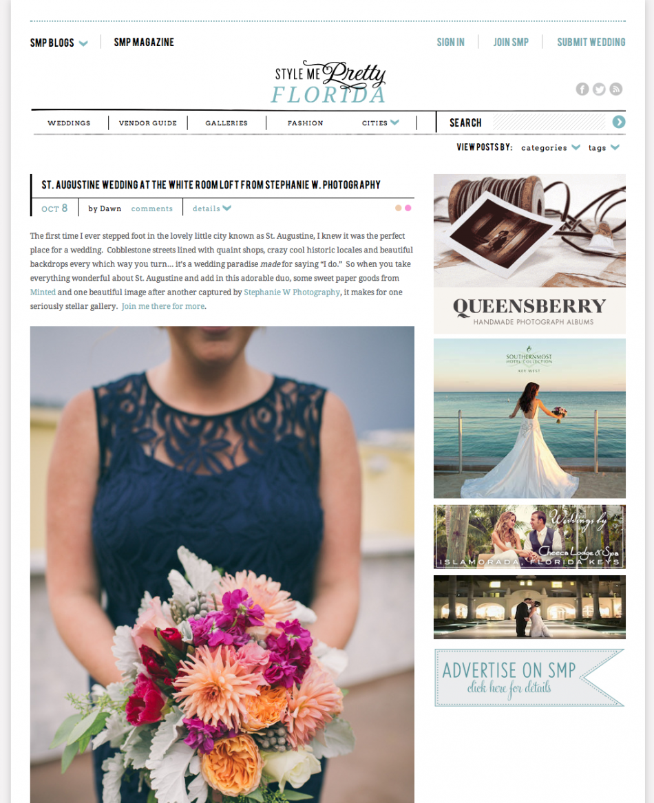 Style Me Pretty Florida published wedding