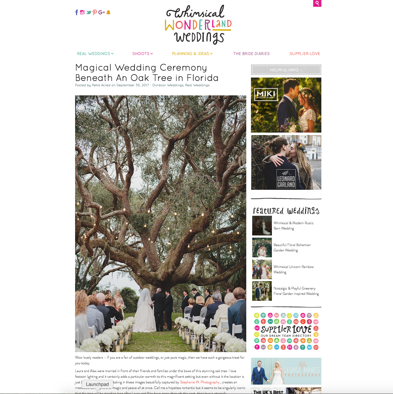 ribault club wedding published on wedding website