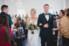 bride and groom walking down aisle of villa blanca ceremony