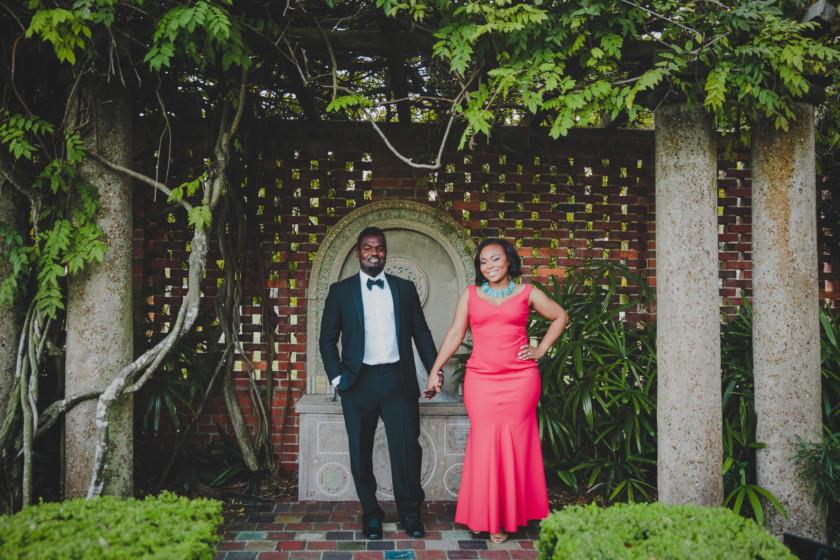 couple standing under tree at cummer museum gardens in jacksonville