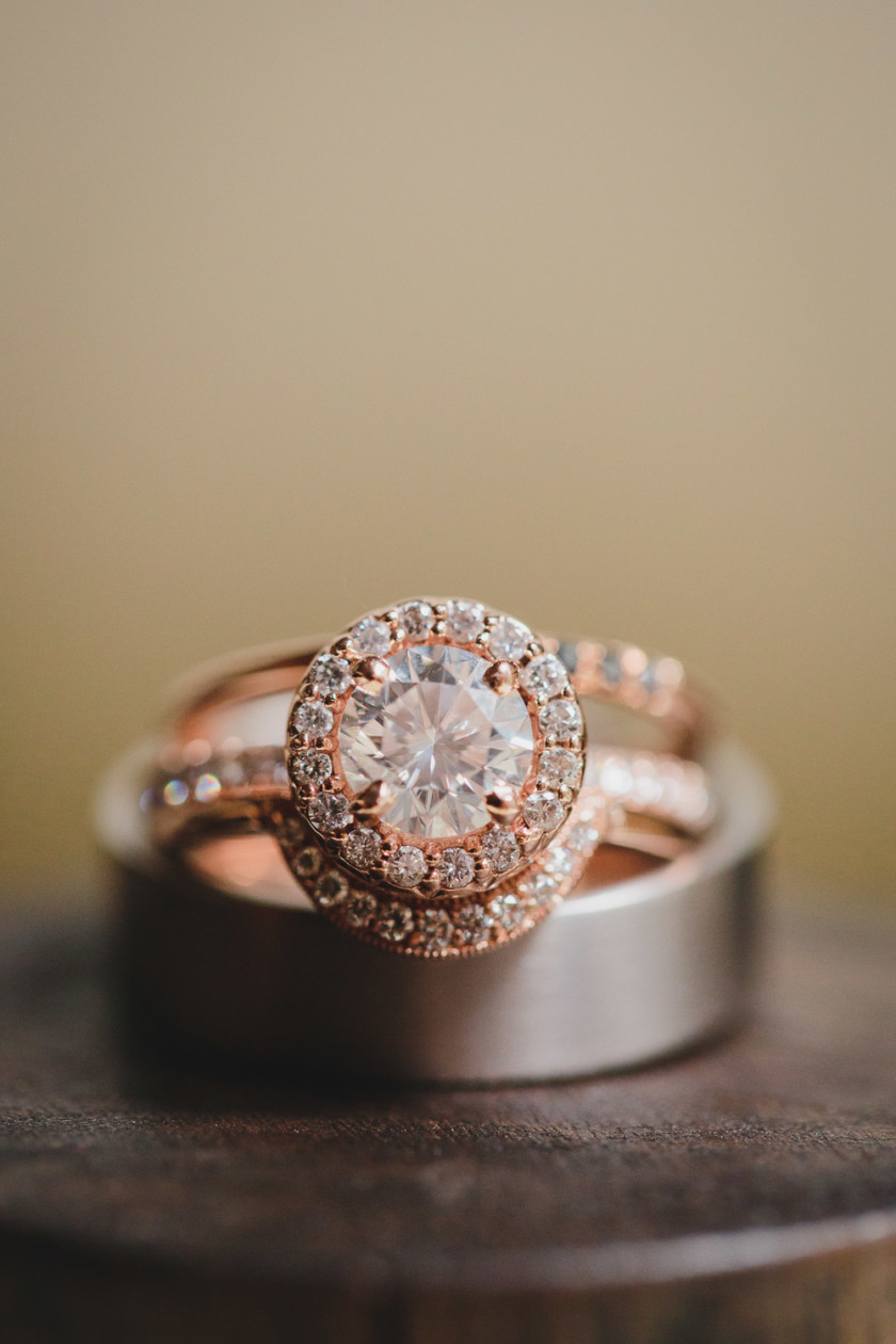 rose gold engagement ring and wedding bands