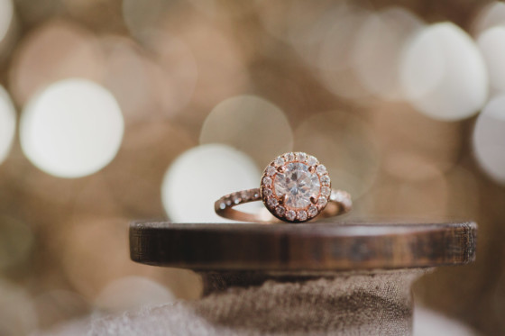 rose gold engagement ring on spool