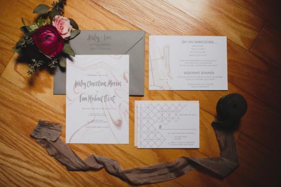 geometric wedding invitation suite