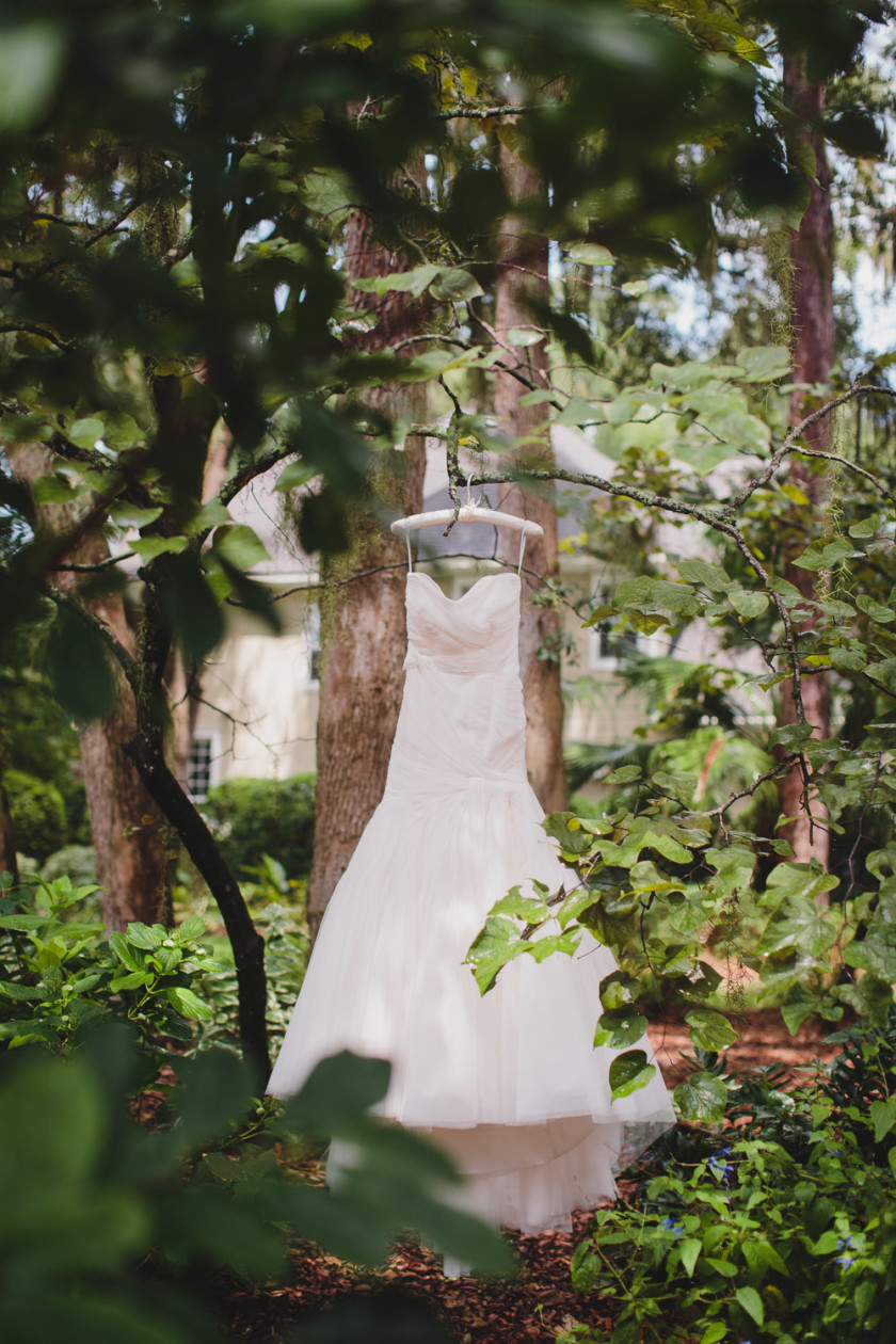 light pink wedding gown hanging from tree