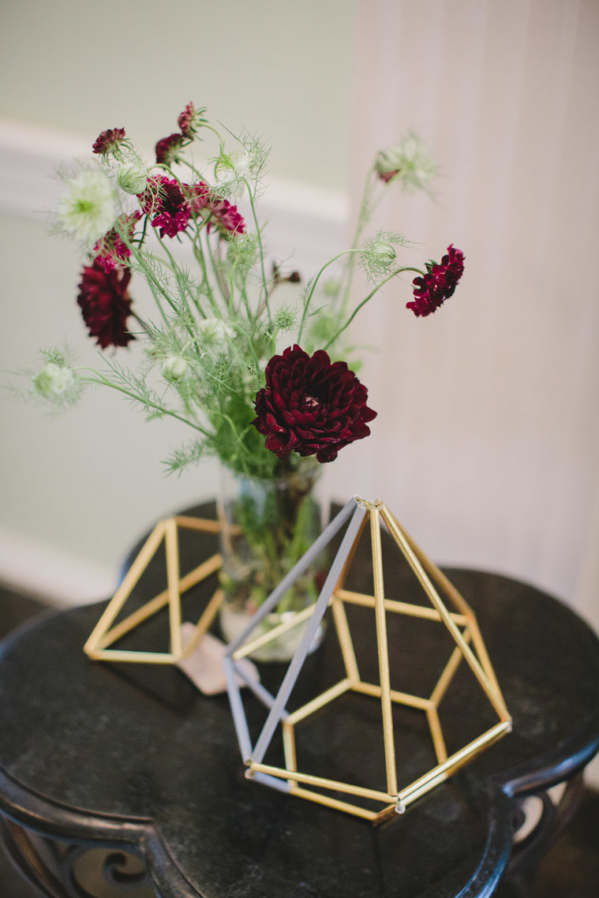 geometric details and deep burgundy wedding florals
