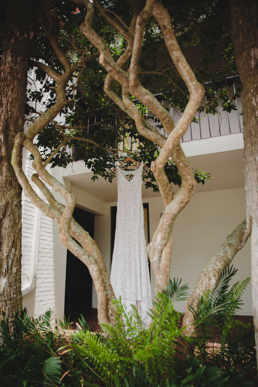 bridal gown hanging from tree