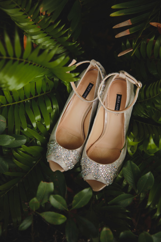 bridal shoes in ferns