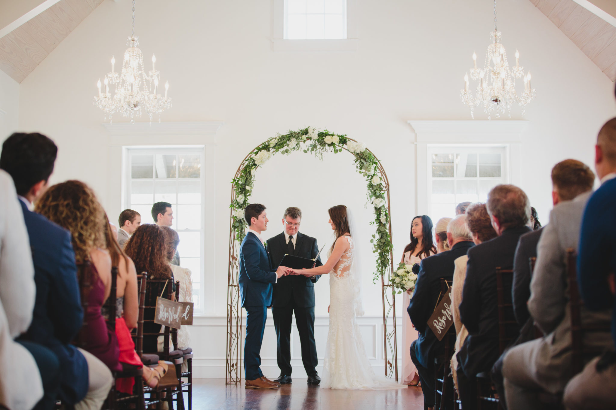 bride ang groom saying vows at villa blanca in st. augustine