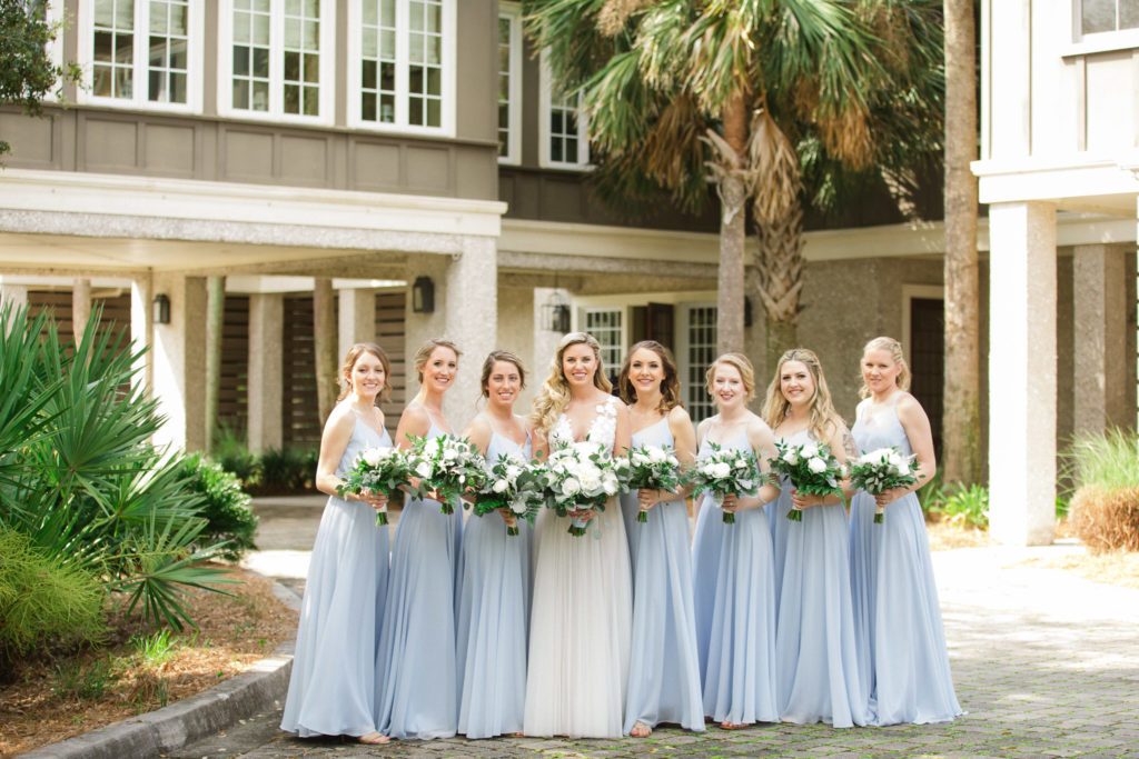 bride and bridesmaids at oyster bay