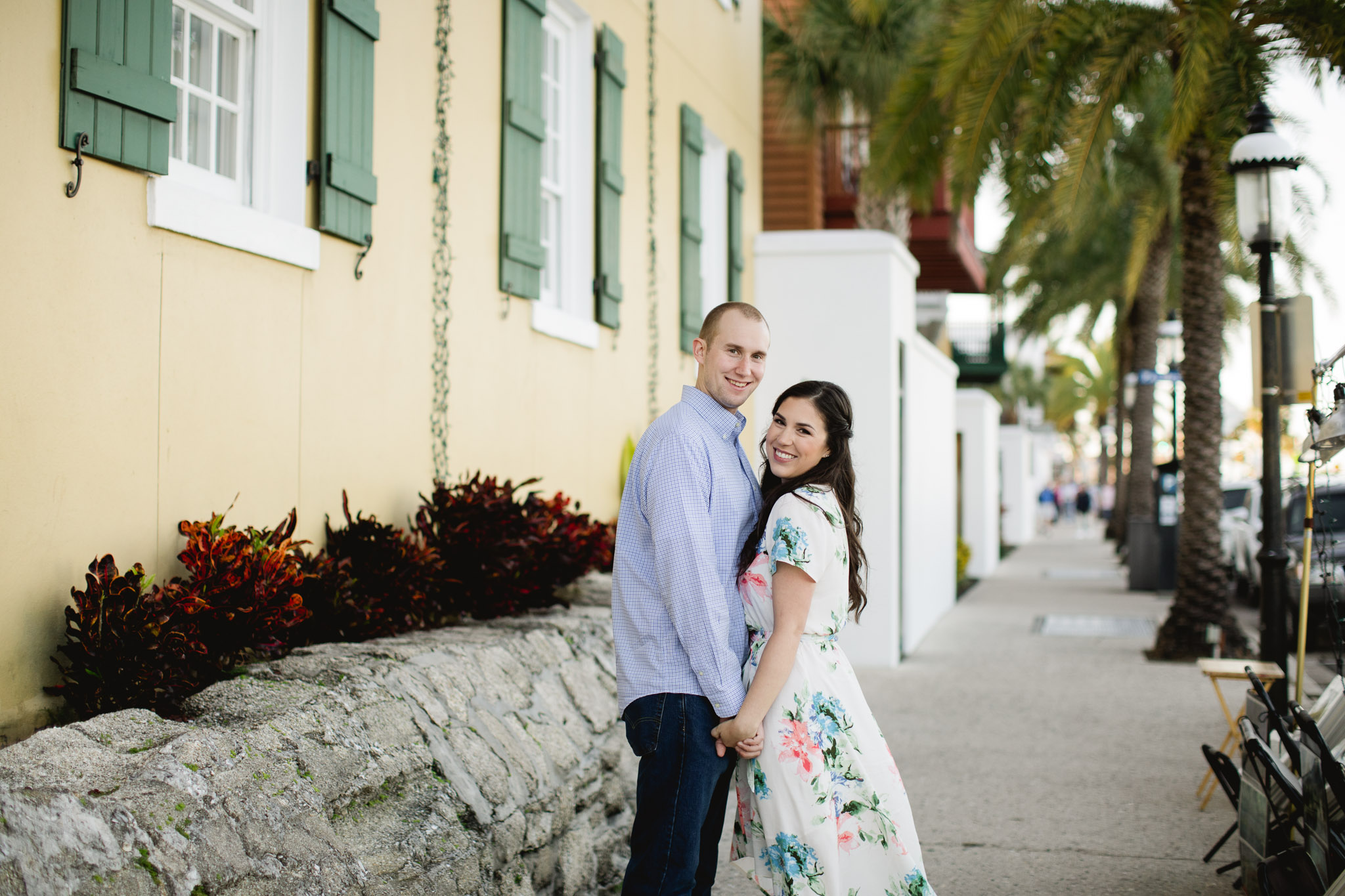 couple on streets of st. augustine during engagement