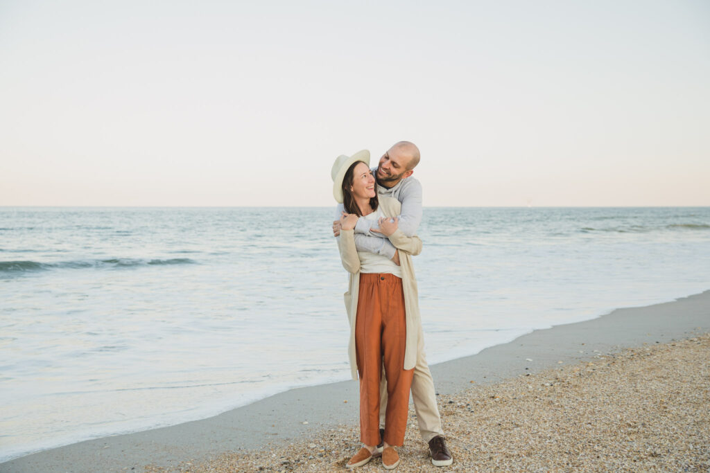 couple on ponte vedra beach for engagement photos
